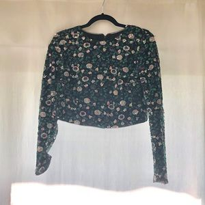 Sequined floral crop top